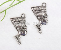 Wholesale Egypt Charms - 100pcs Vintage Silver Egypt Queen's Head Charms Pendant 39*19mm For Bracelets Necklaces Fashion Jewelry Making Accessories Q348
