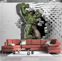 einzigartiges tapetenzimmer groihandel-3D Avengers Fototapete Benutzerdefinierte Hulk Wallpaper Einzigartiges Design Bricks Wandbild Kunst Room Decor Wandmalerei Kid Schlafzimmer Home