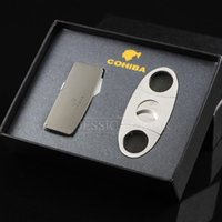 Wholesale Cigar Cases Lighters - Wholesale-COHIBA Gadgerts Metal Cigar Cutter Built-in Punch Stainless Multifunctional Gas cigarette Lighter Gift Box Case