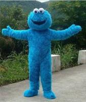 mavi maskotlar toptan satış-Susam Sokağı Mavi Çerez Canavar Maskot kostüm Fantezi Elbise Yetişkin boyutu Cadılar Bayramı ücretsiz kargo