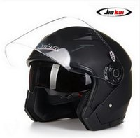Wholesale Jiekai Lens - 2016 New model JIEKAI 512 half face double lens Harley style motorcycle  motorbike helmet of ABS FREE SIZE 55-60 cm
