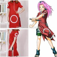 Wholesale Anime Naruto Haruno Sakura st Generation Childhood Cosplay Costume High Quality cheongsam Embroidery clothes Cartoon cos for Girls