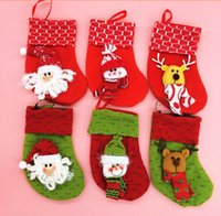 Wholesale Xmas Decoration Items - Christmas items Christmas Stockings Christmas decorations Xmas scene mini Stocking 6 designs
