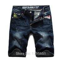 Wholesale Printed Half Pant Men - Wholesale-Free Shipping Stylish Floral Printing Pockets Design Men Jeans Shorts Dark Blue Straight Short Jeans Half Pants Size 28-34,36