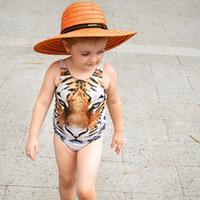 Wholesale White Tiger One Piece - Children girl INS Tiger Pattern Swimsuits Baby Girls summer fashion tiger Sleeveless Swimwear Kids One-Piece Beach Supplies