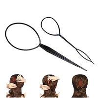 Wholesale Braiding Clip - 2pcs Plastic Magic Tail Hair Braid Ponytail Styling Maker Clip Tool Black free shipping # M01163