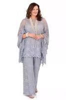 üç parça anne gelin elbisesi toptan satış-2019 Yeni Dantel anne Gelin Pantolon Takım Elbise Artı Boyutu uzun Kollu Gümüş Kadınlar Örgün Törenlerinde Üç Adet Anne Elbiseler için düğün