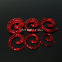 Wholesale Ear Gauges Glitter - Wholesale-Hot piercing body jewelry ear expander Charm 120pcs mixed 6 gauges colors glitter spiral acrylic ear taper free shipping