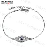 Wholesale Solid Sterling Charm Bracelet - Wholesale-Full CZ Solid 925 Sterling Silver Evil Eye Hamsa White Blue Crystals CZ Women's Charm Bracelet