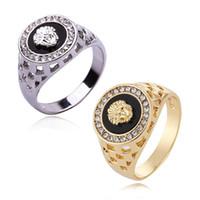 silberner löwenschmuck großhandel-Lion Ringe Schmuck Für Männer Frauen-Gold Silber Farben Kristall Strass Legierung Ringe US Größe 7-12