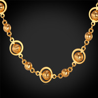 Wholesale turquoise necklace for wedding - Beads Chain Necklace For Women Men 18K Real Gold Plated Platinum Plated 22 Inches Fashion Accessories Gift MGC