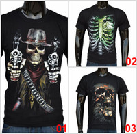 Wholesale T Shirts Skull Men Wholesale - 2015 Fashion Men's Summer T-shirt Skull Digital Logo Cotton Casual Short-sleeved Black Stylish Basic Casual Tops Tee F058 1p