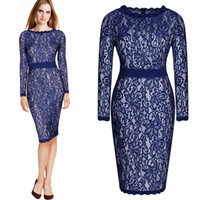 Wholesale Ladies Tea Length Casual Dresses - Free shipping Ladies Lace Floral Bodycon Cocktail Party Evening Office Tea Pencil Dresses Long Sleeve Elegant fashion 3039