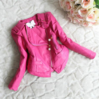 Wholesale Short Leather Jacket Hood - Children Outerwear Spring Autumn Zipper Lace PU Leather Kids Jackets Coats Baby Girl Clothing Girls Winter Leather Coat Kids Clothes