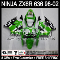 Wholesale Kawasaki Zx6r Fairings 98 - 8Gifts+ Body For KAWASAKI NINJA ZX6R 98-02 Green black ZX636 ZX 636 MY36 ZX-6R ZX 6R 98 99 00 01 02 1998 1999 2000 Green 2001 2002 Fairing