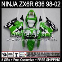 Wholesale Zx6r 98 - 8Gifts+ Body For KAWASAKI NINJA ZX6R 98-02 Green black ZX636 ZX 636 MY36 ZX-6R ZX 6R 98 99 00 01 02 1998 1999 2000 Green 2001 2002 Fairing
