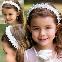hermosos accesorios para chicas al por mayor-Diadema para niña Flor para niña Flores para el pelo Accesorios para el cabello Gasa Coser a mano Bonitas Chicas bellas Diademas Gorras para niños Bandas para el cabello