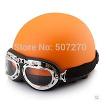 Wholesale Helmets Types For Motorcycles - Wholesale-IBK.66 - Portable-type ABS Half Face Casco Racing Helm Motorcycle All Orange Helmet & UV Glasses For Adult Size M L XL