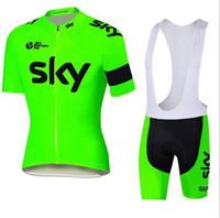 ingrosso pantaloni di pile di poliestere delle donne-2018 Tour De France squadra SKY Cycling Jersey Set manica corta da uomo ciclismo Skinsuit Outdoor Ciclismo XS-4XL Abbigliamento Maillot Bicicletta Wear lzfou
