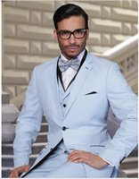 Wholesale Tuxedo For Grooms Ship - 2016 New Arrival Tuxedos Suits for Grooms Jacket+Pants+Tie+Vest Slim Fit Mens Tuxedos Groomsmen Suits Free Shipping