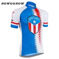 Wholesale men wearing boys clothes - NOWGONOW 2018 Cycling Jersey men red blue national flag team Clothing Bike Wear pro MTB road top Maillot Puerto Rico summer cool