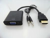 xbox hdmi vga cable venda por atacado-Hot new hdmi para cabo de dados vga com cabo de áudio conversor de vídeo adaptador para xbox 360 ps3 pc360 dhl