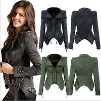 Wholesale Hot Women Tuxedo - Sharp Studded Shoulder Notched Lapel Denim Jeans Tuxedo Coat Blazer Jacket Hot 3 Color 5 Size