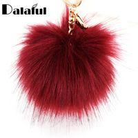Wholesale unique insects - beijia Unique Faux Rabbit Fur Ball Flower Key Chains Rings Holder Bag Pendant PomPom Keyrings KeyChains For Car For Women K284