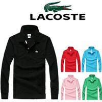 Wholesale Crocodile Casual Style - High Quality Tops&Tees Solid color Men Polo Crocodile Embroidery Poloshirt Casual Polo Shirts winter men's Long sleeve polo shirt brand