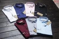 vestido de talla xxl invierno al por mayor-Nuevos hombres de marca de la duda Otoño invierno de manga larga de algodón vestido casual de negocios de color puro camisas de los hombres Tamaño (M-XXL)