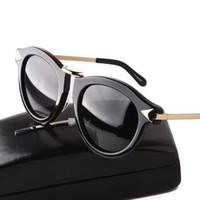 ingrosso occhiali in metallo-All'ingrosso-2016 Nuovo marchio di moda Karen donne cornice rotonda metallo Arrow occhiali da sole polarizzati uomini Walker guida occhiali da sole Lunettes de