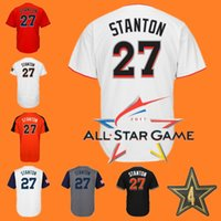 Wholesale Game Worn Jersey - Mens Giancarlo Stanton White 2017 All-Star Worn Game Baseball Jersey Orage Grey Black WBC giancarlo stanton Jerseys