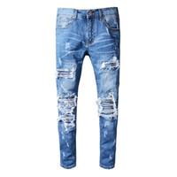 jeans destrozados desgastados para hombre al por mayor-Nuevo estilo de Italia para hombre Distressed Destroy Pantalones Rodilleras Parches acanalados Blue Denim Skinny Biker Jeans Pantalones delgados Tamaño