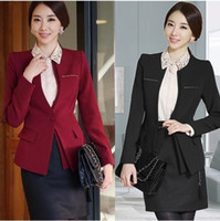 Wholesale Dark Grey Work Pants - Elegant OL Women Plus Size Suits Blazers with Skirts Pants for Work wear Long Sleeve Slim Clothes DK803F