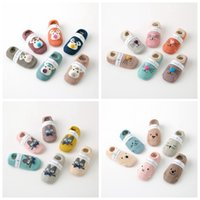 Wholesale infant cartoon animal socks - Infant baby cartoon pattern stockings boat shape Non-slip Deer Cat printing socks cotton baby booties socks Anti-skid socks