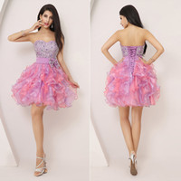 lila etekleri toptan satış-2020 Kısa Homecoming Elbise Ucuz Nane Organze Sevgiliye Boncuk Leylak Balo Parti. Mezuniyet Elbiseleri Mini Etek A Hattı Straplez