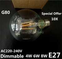 Offerta speciale G80 AC220V LED Filament Lights 4W 6W 8W Dimmable Filament Bulb LED 360 gradi E27 led Tungsten filamento