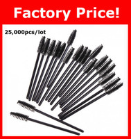Wholesale Plastic Eyeliner - Wholesale 25,000pcs lot NEW Black Disposable Eyelash Brush Mascara Wands Applicator Makeup Cosmetic Tool