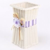 Wholesale Europe Rattan Flower Vase Storage Square Basket Jardiniere Decor Home Wedding Party Decoration