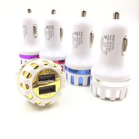 Wholesale Flower Port - High Qiality Dual USB Ports Led Light Sun Flower Car Charger 5V 2.1A 2 Port Mini Plug ABS Auto Charger Adaptor for Samsung Iphone