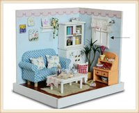 Wholesale Elegant Wooden - Free Shipping Children's Gift Toys DIY Elegant Wooden Dollhouse of Joyful Gathering With LED Lamps And Dustproof Glass