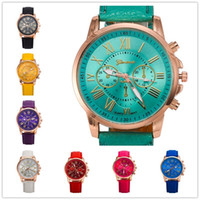 Wholesale Cheap Wholesale Designer Watches - Geneva Cheap Watch for Women Fake Three Eyes Designer Leather Belt Wristwatch 13 Colors Student Watch for Boy Girls Free Shipping