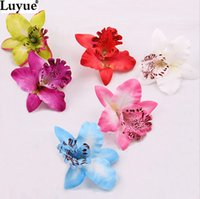 Wholesale Orchids Quality - LUYUE High Quality 8cm Tailand silk orchid heads wedding decoration DIR headwears artificial flowers accessories 50pcs lot