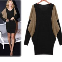 Wholesale Bat Wing Sweaters - New Spring Europe Vestidos Women's Plus Size Dress O-neck Patchwork Bat-wing Long Sleeve Knitted Tops Pullovers Sweater Bodycon Dresses