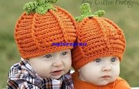 Wholesale Infant Hats Photography Props - Cute Pumkin baby hats caps Infant Toddler winter Crochet hats Beanie Handmade Knitted Hat children boy girl photography props gift