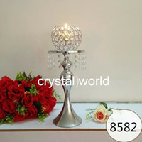 Acero inoxidable de la manera Diamante Crystal Candle Holder Wedding Dicoration Soporte de la vela Silvering Metal Candleck
