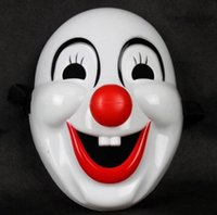 Wholesale clown noses - Masquerade Clown Red Nose Movie Clown Jester Mask Plastic Clown Mask for Party Christmas Halloween Fashion