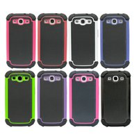 Wholesale Galaxy S3 Layer - Hybrid Dual Layer Armor Defender Protective Case Cover For Samsung Galaxy S3 I9300