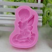 bebek silikon 3d kalıp toptan satış-Sıcak Satış 3D Melek Silikon Sabun Kalıp Mumlar Bebek Kalıp Kek Fondan Dekorasyon Araçları
