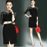 Hot New Lace Dress Half Sleeve de alta qualidade Elegant Women's Dress Hip-package Business Vestidos Lady's Formal Party Evening Dresses